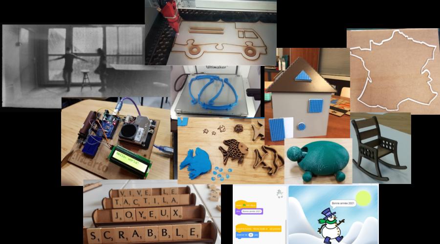 Photos de différents projets réalisés au TactiLab
