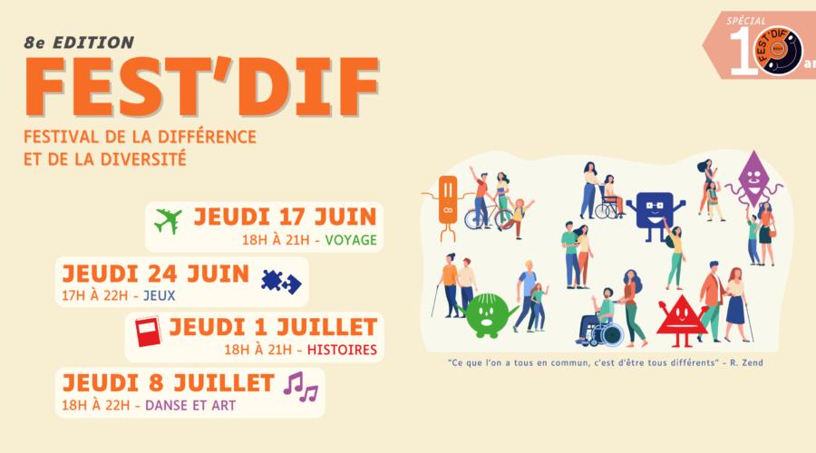 Bandeau de présentation soirée du Fest'Dif du 17 juin au 8 juillet à la MIETE
